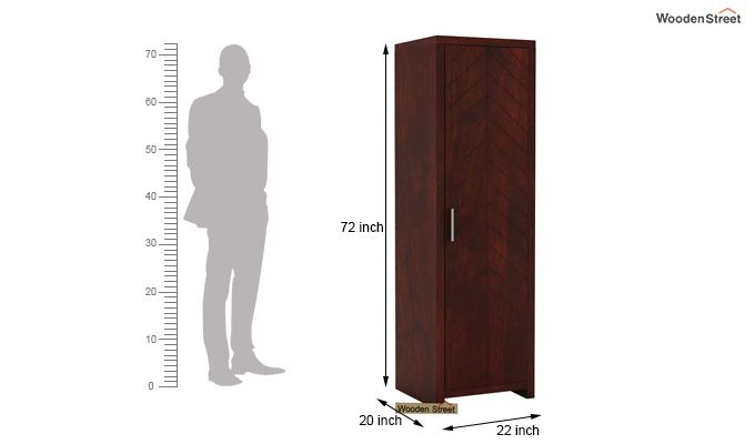 Neeson 1 Door Multi Utility Wardrobe (Mahogany Finish)-4