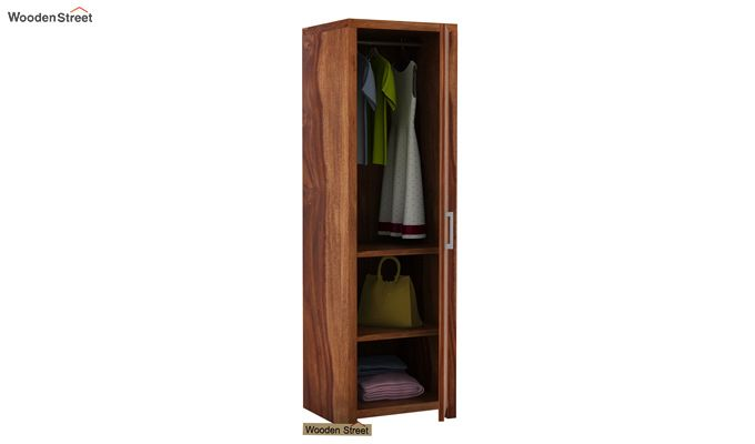 Neeson 1 Door Multi Utility Wardrobe (Teak Finish)-3