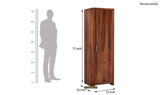 Neeson 1 Door Multi Utility Wardrobe (Teak Finish)-4