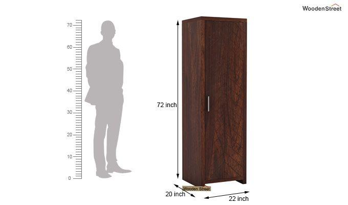 Neeson 1 Door Multi Utility Wardrobe (Walnut Finish)-5