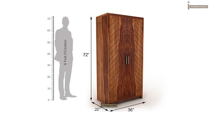 Neeson Multi Utility Wardrobe (Teak Finish)-5
