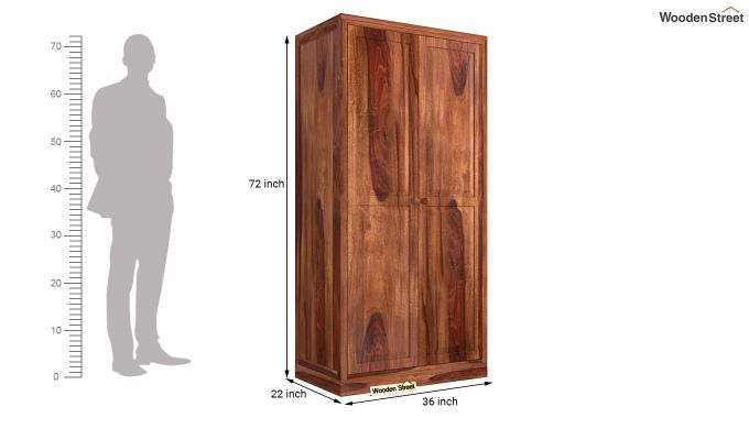 Nixon 2 Door Multi Utility Wardrobe (Honey Finish)-5