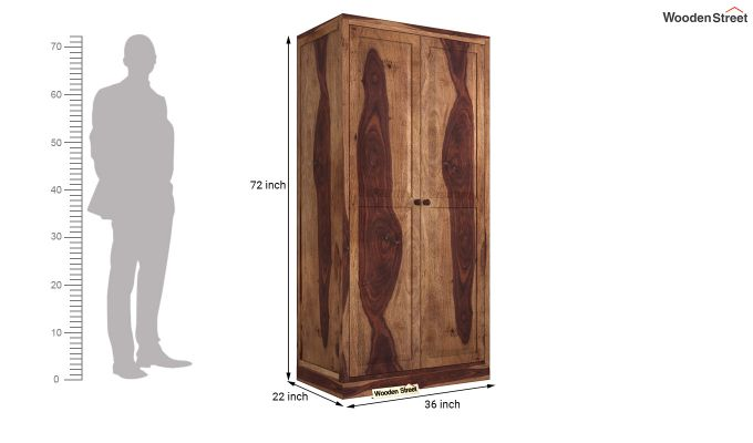 Nixon 2 Door Multi Utility Wardrobe (Teak Finish)-5