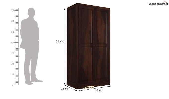 Nixon 2 Door Multi Utility Wardrobe (Walnut Finish)-5