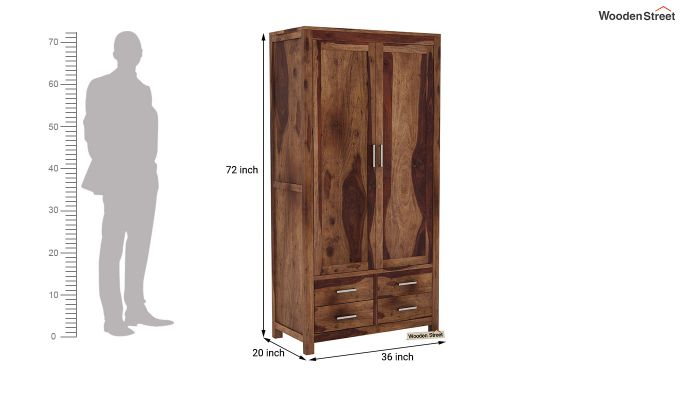 Portus Multi Utility Wardrobe (Teak Finish)-7