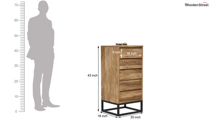 Ray Loft Chest Of Five Drawer (Natural Finish)-5