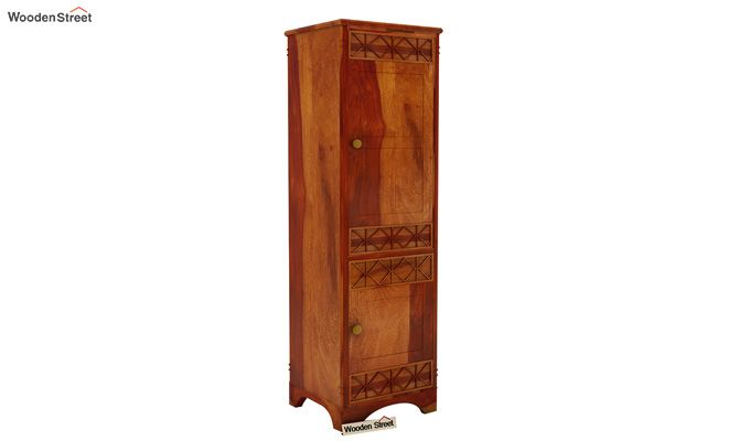 Swirl 1 Door Multi-Utility Wardrobe (Honey Finish)-1