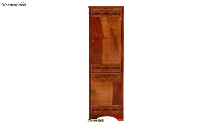 Swirl 1 Door Multi-Utility Wardrobe (Honey Finish)-2