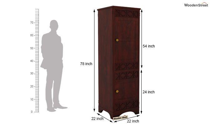 Swirl 1 Door Multi-Utility Wardrobe (Mahogany Finish)-4
