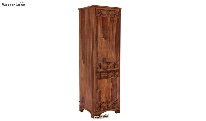 Swirl 1 Door Multi-Utility Wardrobe (Teak Finish)-1