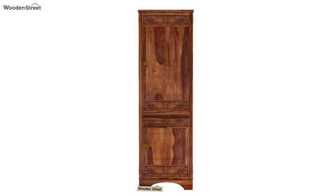 Swirl 1 Door Multi-Utility Wardrobe (Teak Finish)-2