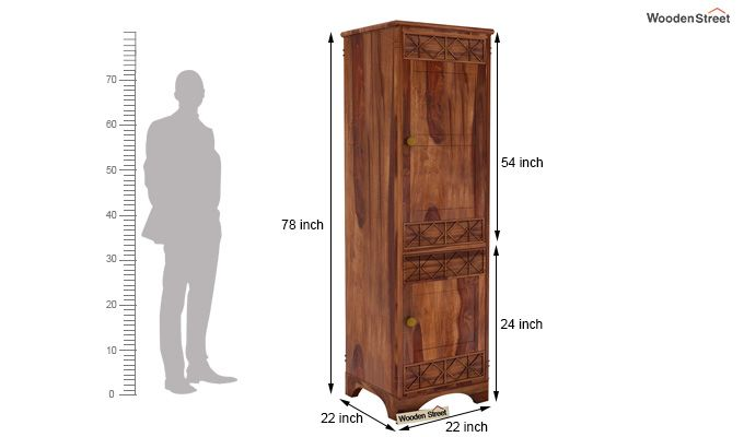 Swirl 1 Door Multi-Utility Wardrobe (Teak Finish)-4