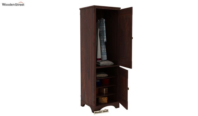 Swirl 1 Door Multi-Utility Wardrobe (Walnut Finish)-4