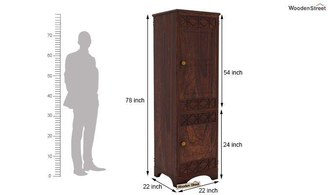 Swirl 1 Door Multi-Utility Wardrobe (Walnut Finish)-5