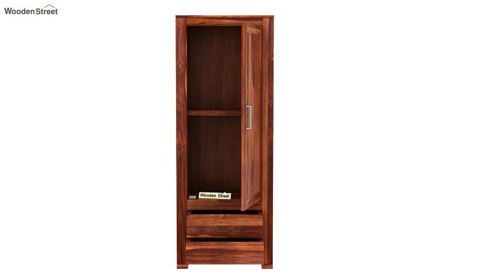 Theo 1 Door Multi-Utility Wardrobe (Honey Finish)-5