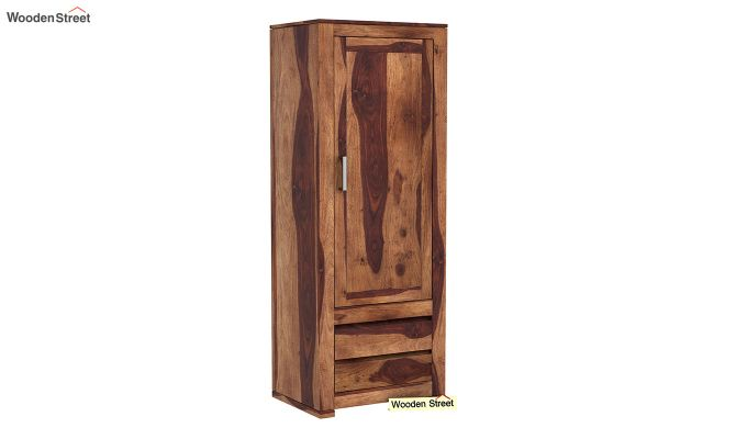 Theo 1 Door Multi-Utility Wardrobe (Teak Finish)-2