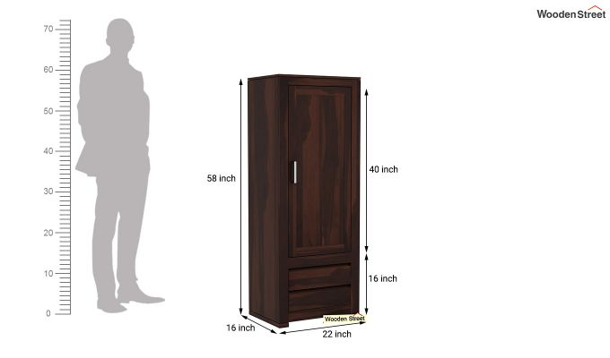Theo 1 Door Multi-Utility Wardrobe (Walnut Finish)-6
