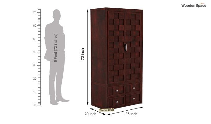Travis Multi Utility Wardrobe (Mahogany Finish)-5
