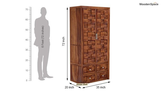Travis Multi Utility Wardrobe (Teak Finish)-5