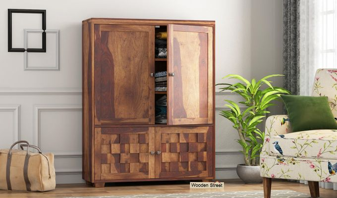 Travis Small Size Wardrobe (Teak Finish)-1
