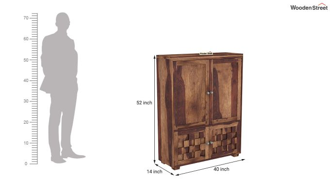 Travis Small Size Wardrobe (Teak Finish)-5