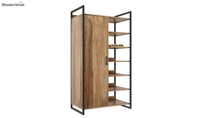 Vegas Single Door Loft Wardrobe with Shelves (Natural Finish)-2