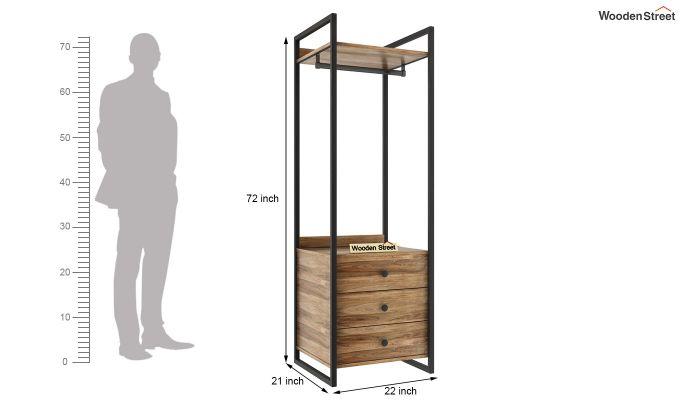Vegas Loft Wardrobe with Drawers (Natural Finish)-4