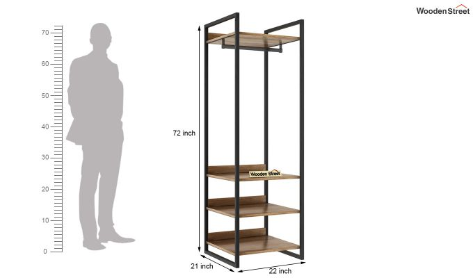 Vegas Loft Wardrobe with Shelves (Natural Finish)-4