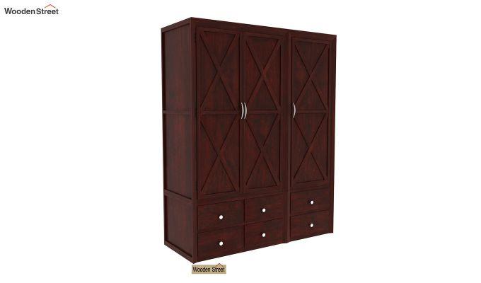 Warner 3 Door Multi Utility Wardrobe (Mahogany Finish)-1