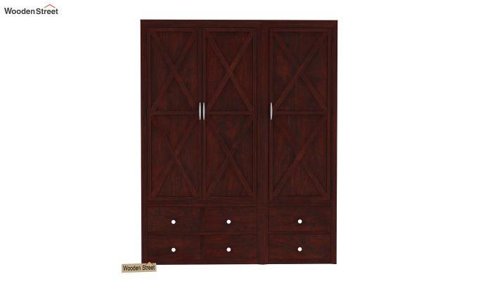 Warner 3 Door Multi Utility Wardrobe (Mahogany Finish)-2