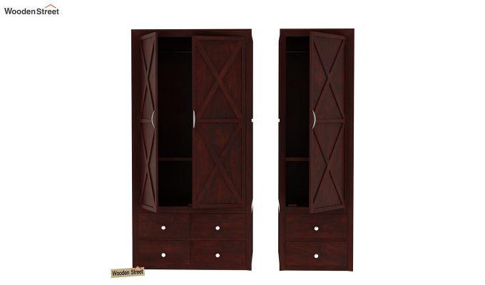 Warner 3 Door Multi Utility Wardrobe (Mahogany Finish)-4