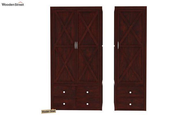 Warner 3 Door Multi Utility Wardrobe (Mahogany Finish)-5