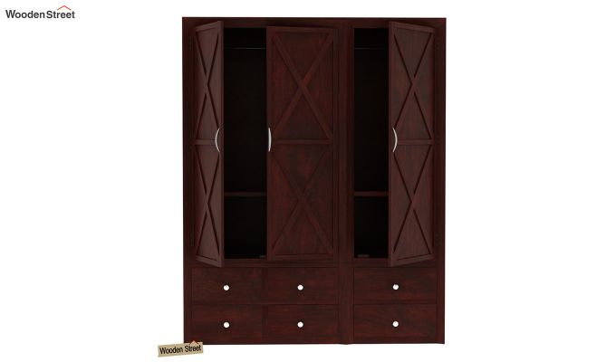Warner 3 Door Multi Utility Wardrobe (Mahogany Finish)-6