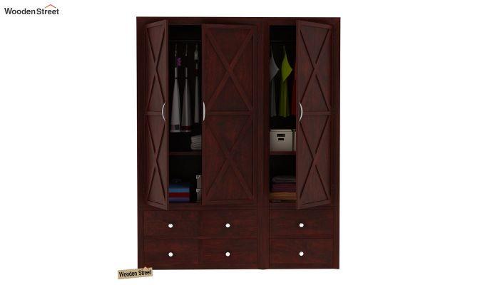 Warner 3 Door Multi Utility Wardrobe (Mahogany Finish)-7