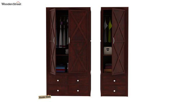 Warner 3 Door Multi Utility Wardrobe (Mahogany Finish)-8