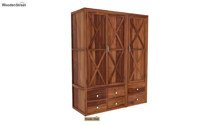 Warner 3 Door Multi Utility Wardrobe (Teak Finish)-1