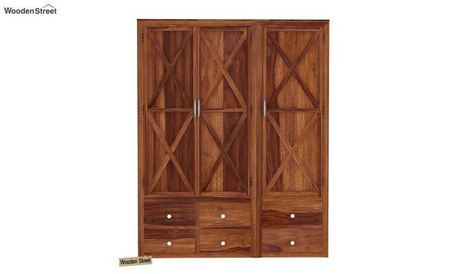 Warner 3 Door Multi Utility Wardrobe (Teak Finish)-2