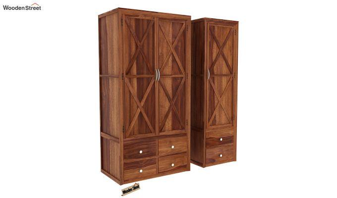 Warner 3 Door Multi Utility Wardrobe (Teak Finish)-3