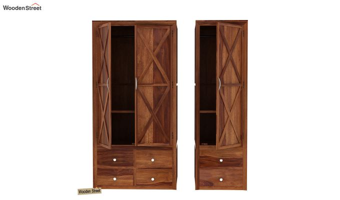 Warner 3 Door Multi Utility Wardrobe (Teak Finish)-4