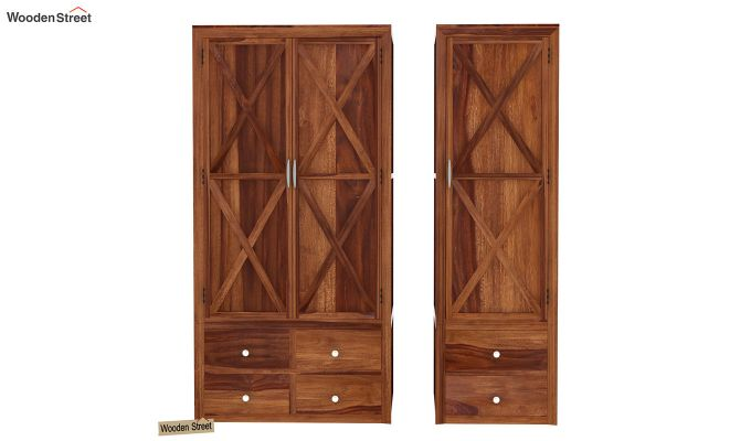 Warner 3 Door Multi Utility Wardrobe (Teak Finish)-5