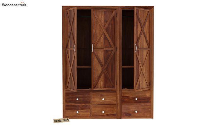 Warner 3 Door Multi Utility Wardrobe (Teak Finish)-6
