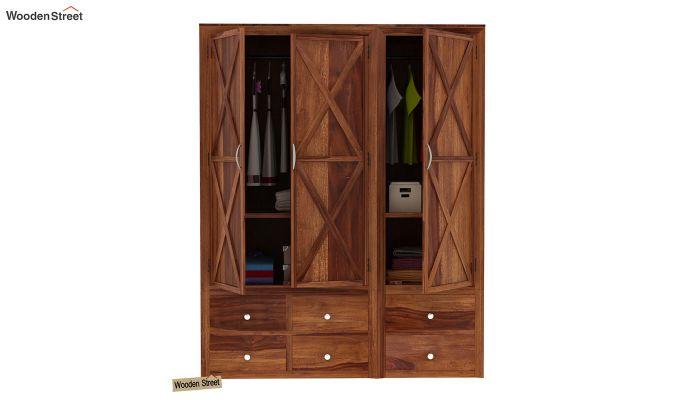 Warner 3 Door Multi Utility Wardrobe (Teak Finish)-7