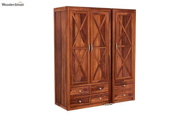 Warner 3 Door Multi Utility Wardrobe (Honey Finish)-3