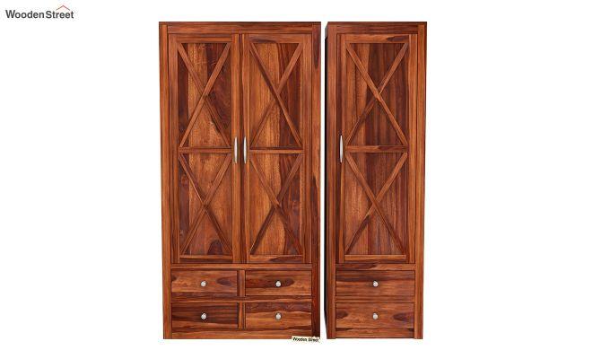Warner 3 Door Multi Utility Wardrobe (Honey Finish)-4