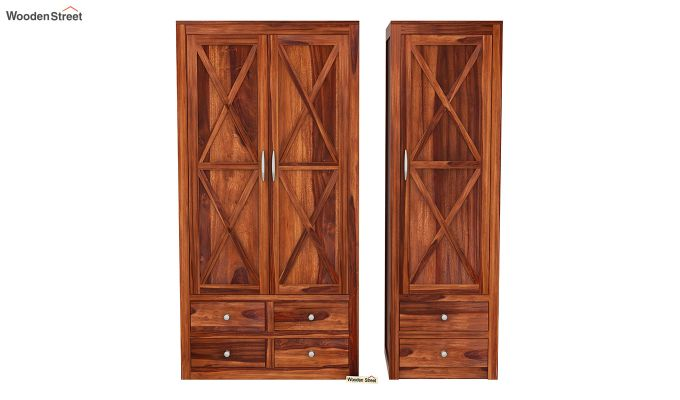 Warner 3 Door Multi Utility Wardrobe (Honey Finish)-5