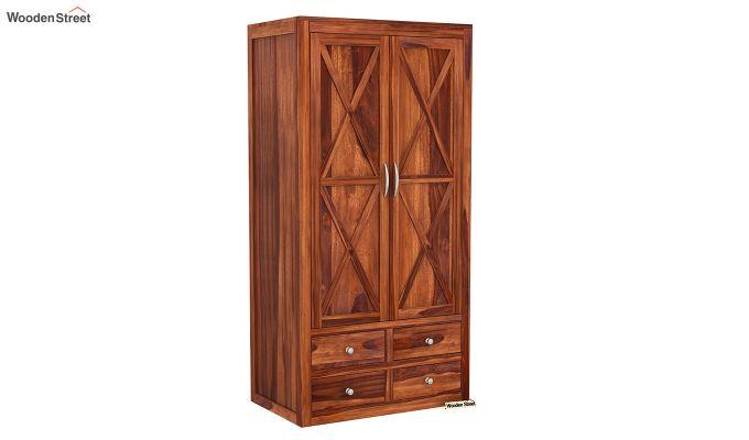 Warner 3 Door Multi Utility Wardrobe (Honey Finish)-6
