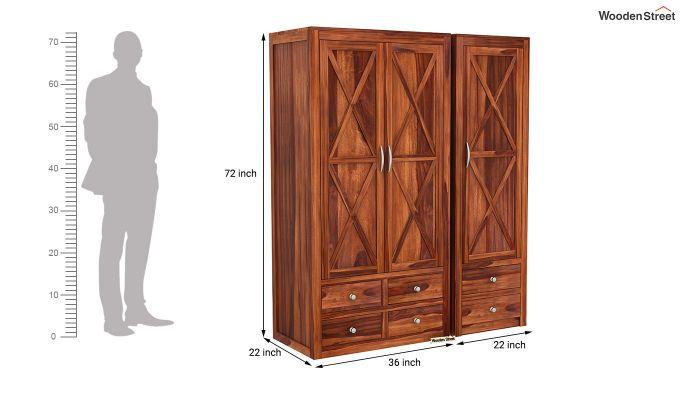 Warner 3 Door Multi Utility Wardrobe (Honey Finish)-9