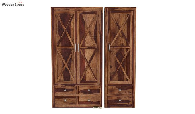 Warner 3 Door Multi Utility Wardrobe (Teak Finish)-4