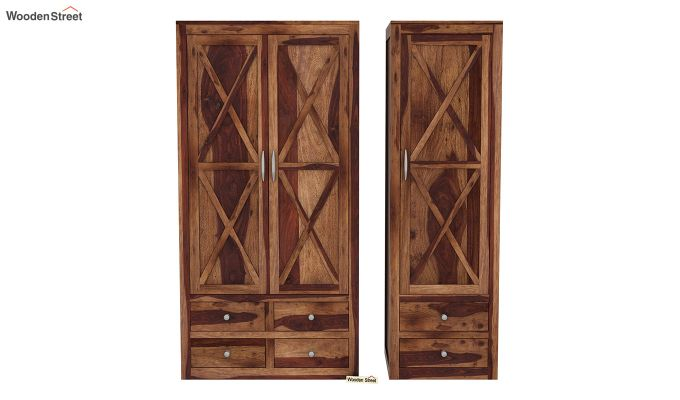 Warner 3 Door Multi Utility Wardrobe (Teak Finish)-5