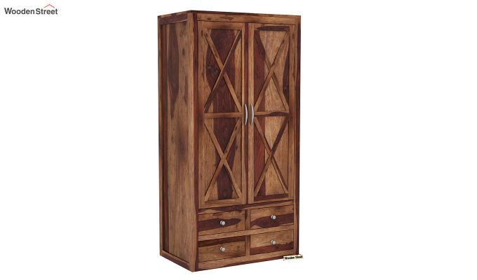 Warner 3 Door Multi Utility Wardrobe (Teak Finish)-6